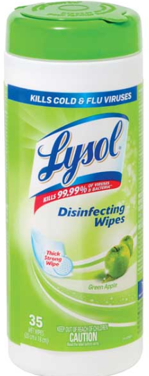 Illustration of Lysol Disenfecting Wipes 35ct. Green Apple
