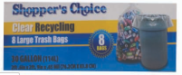 Illustration of Shopper's Choice 30 Gallon Recycling Bags 8ct.
