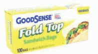 Illustration of Good Sense Fold Top Sandwich Bags 100ct