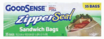 Illustration of Good Sense Zipper Seal Sandwich Bag 35ct