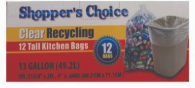 Illustration of Shopper's Choice 13 Gallon Recycling Bags 12ct.