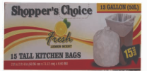 Illustration of Shopper's Choice 13 Gallon Kitchen Bags 15ct.