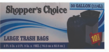 Illustration of Shopper's Choice 30 Gallon Trash Bags 8ct.