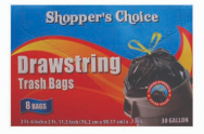 Illustration of Shopper's Choice 30 Gallon Drawstring Bags 8ct.