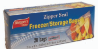 Illustration of Shopper's Choice Zipper Seal Quart Bag 20ct